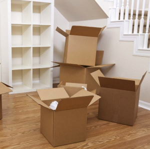 moving boxes near stairs