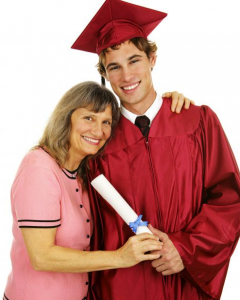 mom and son graduating